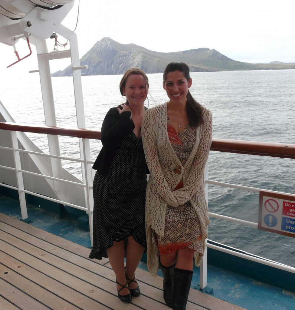 travel to Antarctica - me and Amanda in front of Cape Horn