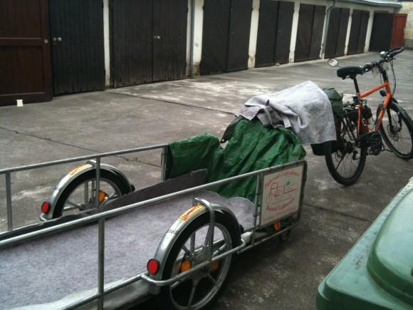 adjusting to life in Germany - bed delivered on a bike