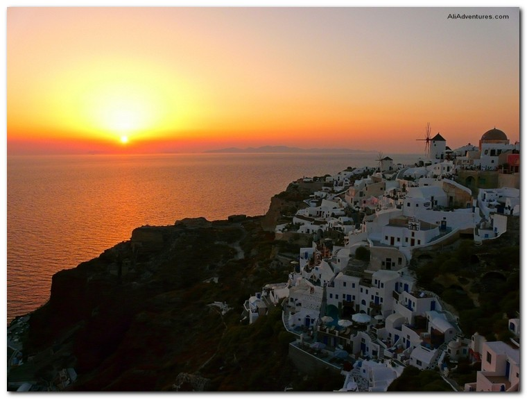 sunset in Santorini, Greece