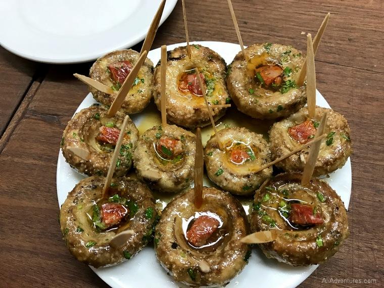 what to eat in Madrid - Madrid tapas food tour mushrooms