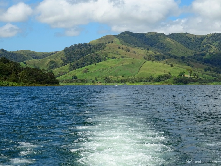 how to get from Monteverde to La Fortuna boat ride landscape
